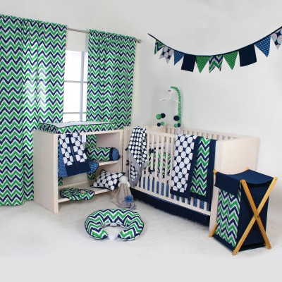 Bacati Cotton Bedding Set(Navy, Green) at flipkart