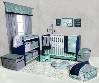 Bacati Cotton Bedding Set(Mint) at flipkart