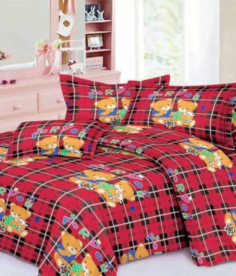 Flemingo Cotton Printed King sized Double Bedsheet(1 Bedsheet with 2 Pillow Covers, Red) at flipkart