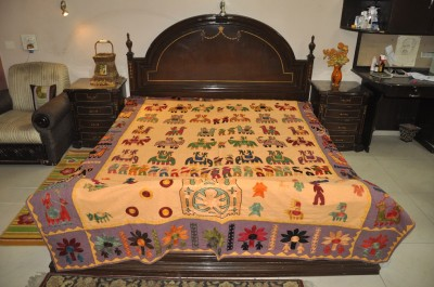 Lal Haveli Cotton Embroidered Double Bedsheet(1 Bedsheet, Multicolor) at flipkart