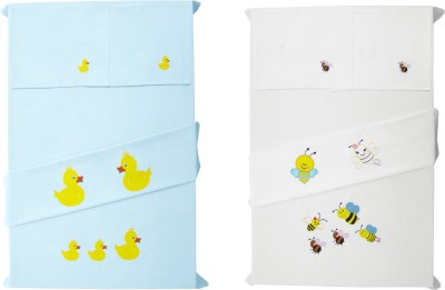 Baby Rap Cotton Embroidered Crib Bedsheet(4 Bed Sheets, 4 Pillow Covers, Multicolor)