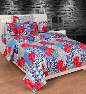 Creative Homes Cotton Floral Double Bedsheet(1 Cotton Double Bedsheet With 2 Pillow Covers, Red)