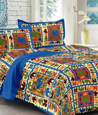 Jaipur Print Cotton Printed Double Bedsheet(1 double Bedsheet with 2 pillow cover, Multicolor) at flipkart