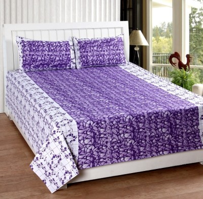 Home Fantasy Cotton Double Floral Bedsheet(1 Bedsheet, 2Piloow Cover, Purple)