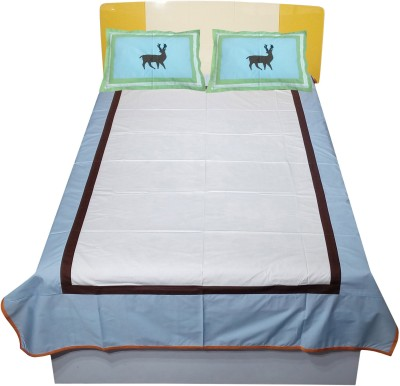 Hugs N Rugs 200 TC Cotton Single Embroidered Bedsheet(Pack of 1, Multicolor) at flipkart