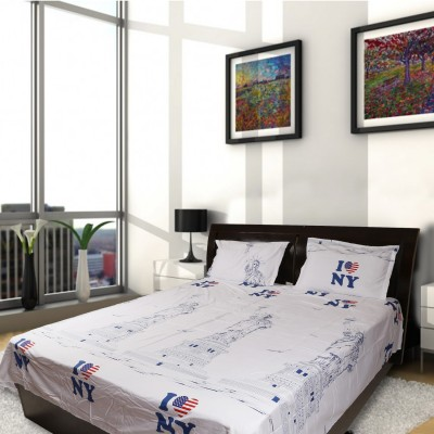 MIE Cotton Printed Queen sized Double Bedsheet(1 Bedsheet and 2 Pillow Covers, White) at flipkart