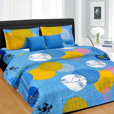 Cortina Cotton Geometric Double Bedsheet(1 Bedsheet with 2 Pillow Covers, Blue) at flipkart