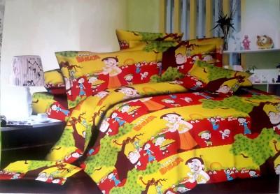Villas Decor Polycotton Cartoon Double Bedsheet(1 Bedsheet, 2 Pillow Covers, Yellow) at flipkart