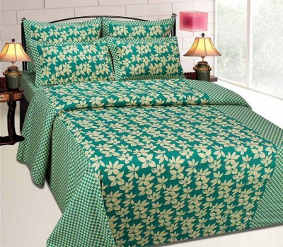 Ridhaan Cotton Floral Double Bedsheet(1, BEDSHEET, 2, Pillow Covers, Multicolor)