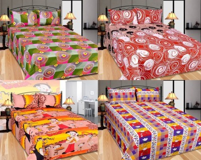 Furnishing Zone Polycotton Checkered Double Bedsheet(4 Bed Sheet, 8 Pillow Covers, Multicolor) at flipkart