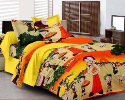 Saraswati Cotton Linen Blend Cartoon Double Bedsheet(1Doubel bed bedsheet 2 Pillow cover, 1 BED SHEET 1 PILLOW COVER, MULTY) at flipkart