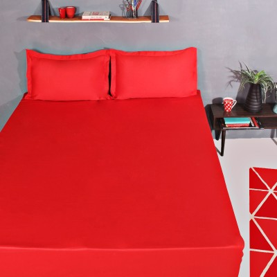 Portico New York Cotton Double Plain Bedsheet(1 Double Bedsheet, 2 Pillow Cover, Red)  available at flipkart for Rs.649
