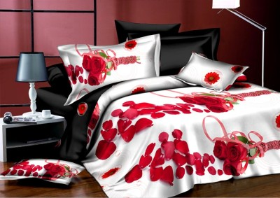 Dexim 200 TC Polyester Double Floral Bedsheet(1 Double Bed Sheet, 2 Pillow Covers, White, Red)  available at flipkart for Rs.849