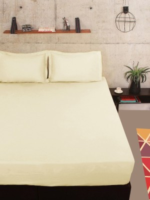 Portico New York Cotton Double Plain Bedsheet(1 Bedsheet, 2 Pillow Cover, Beige)  available at flipkart for Rs.499