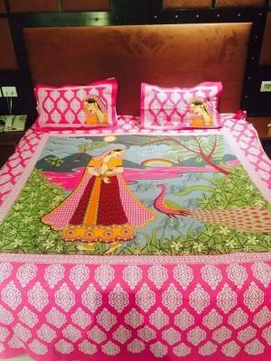 Kalakriti Creations Cotton Double King Printed Bedsheet(Pack of 1, Pink) at flipkart