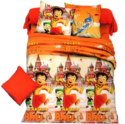 Amk Home Decor Polycotton Cartoon Double Bedsheet(1 Bedsheet, 2 Pillow Cover, Multicolor) at flipkart