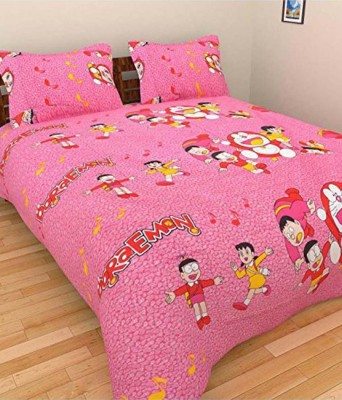 Ridhaan Cotton Cartoon Double Bedsheet(1, BEDSHEET, 2, Pillow Covers, Multicolor)