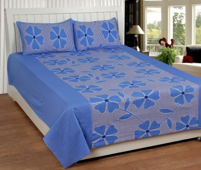Home Fantasy Cotton Floral Double Bedsheet(1 Bedsheet, 2Piloow Cover, Blue)