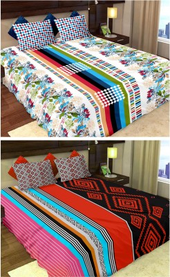 Story@Home Cotton Printed Double Bedsheet(2 Double Bedsheet with 4 Pillow Covers, Multicolor)