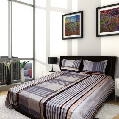 MIE Cotton Checkered King sized Double Bedsheet(1 Bedsheet and 2 Pillow Covers, Multicolor) at flipkart