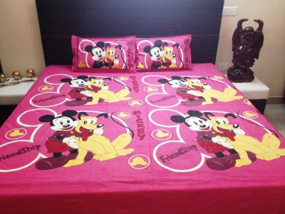 JMD Cotton Cartoon Double Bedsheet(1 Bedsheet , 2 Pillow Cover, Multicolor) at flipkart