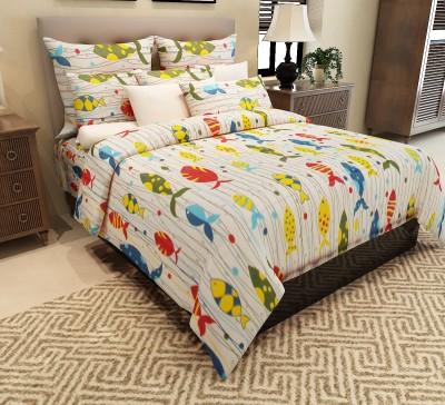 Home Candy 144 TC Cotton Double Cartoon Bedsheet(1 Double Bedsheet, 2 Pillow Covers, Multicolor)