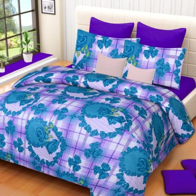 IWS Cotton Floral Double Bedsheet(1 Double Bedsheet, 2 Pillow Covers, Multicolor) at flipkart
