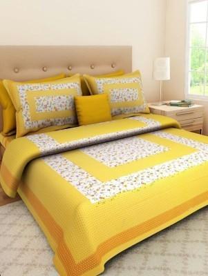 Hometrade India 278 TC Cotton Double Printed Bedsheet(1Bedsheet 2 Pillow, Multicolor)