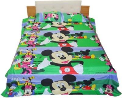D & D Crafts Cotton Cartoon Double Bedsheet(1 Double Bedsheet, 2 Pillow Cover, Multicolor) at flipkart