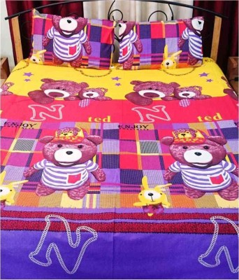 Ridhaan Cotton Double Cartoon Bedsheet(1, BEDSHEET, 2, Pillow Covers, Multicolor)