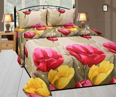 Shubh Cotton 3D Printed Double Bedsheet(1 Bedsheet 2 pillow Cover, Brown) at flipkart