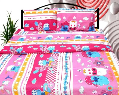 Cosmosgalaxy Cotton Cartoon Double Bedsheet(1 Bedsheet, 2 Pillow Covers, Pink, Orange) at flipkart