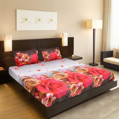 Welhous Cotton Floral Double Bedsheet(1 Bedsheet, 2 Pillow covers, Multicolor) at flipkart