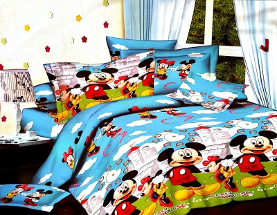Villas Decor Polycotton Double Cartoon Bedsheet(Pack of 1, Multicolor) at flipkart