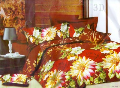 3D Bed Sheet Polycotton Floral Double Bedsheet(1 Bed Sheet, 2 Pillow Covers, Multicolor) at flipkart