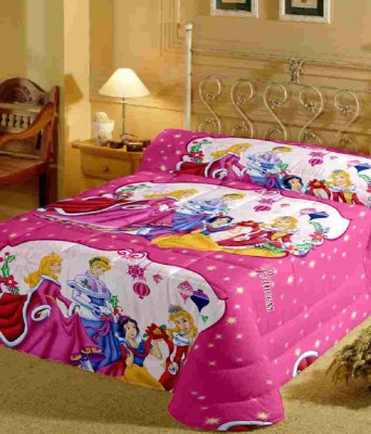 Kunal 250 TC Cotton, Satin Single Cartoon Bedsheet(Pink) at flipkart