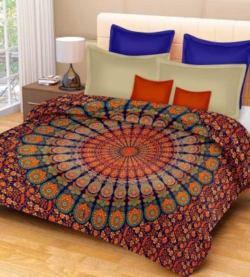 Purecomfort Cotton Floral Single Bedsheet(1 Bedsheet, Blue and Orange) at flipkart