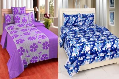 Zesture Cotton Printed Double Bedsheet(2 Bedsheet with 4 Pillow Cover, Multicolor) at flipkart