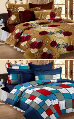 Story@Home Cotton Floral Double Bedsheet(2 Double Bedsheet, 4 Pillow Cover, Blue)