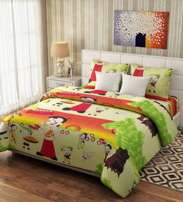 Akshaya Cotton Cartoon Double Bedsheet(1 bedsheet and two pillow covers, Multicolor) at flipkart