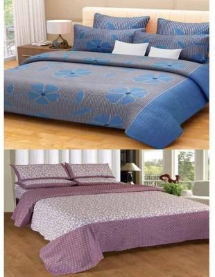 Home Fantasy Cotton Double Floral Bedsheet(2 Bedsheet, 4Piloow Cover, Multicolor)