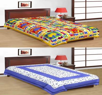 Uniqchoice 210 TC Cotton Single Printed Bedsheet(2 Single Bed Sheet, Multicolor)