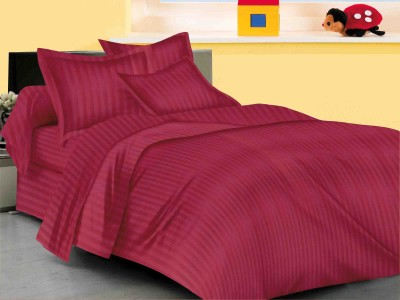 MB 220 TC Satin Double King Striped Bedsheet(Pack of 1, Red) at flipkart