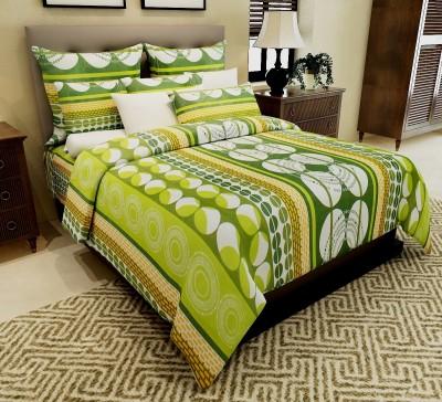 Home Candy Cotton Geometric Double Bedsheet(1 Double Bedsheet, 2 Pillow Covers, Green) at flipkart