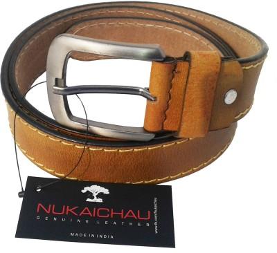 NUKAICHAU Men Casual Tan Genuine Leather Belt