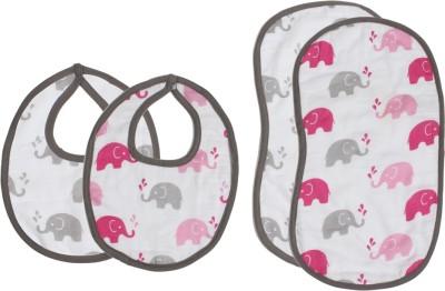 Bacati Elephants Pink/GreyMuslin 4 pc set of Burpies/Bibs(Pink)