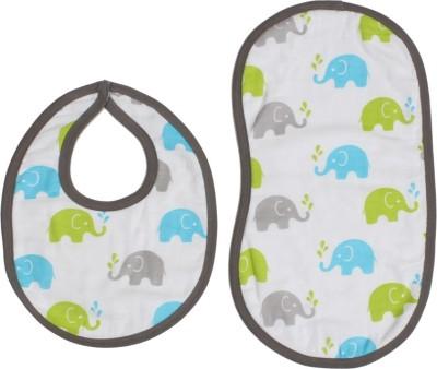 Bacati Elephants Aqua/ Lime/GreyMuslin 4 pc set of Burpies/Bibs(Aqua II Lime)