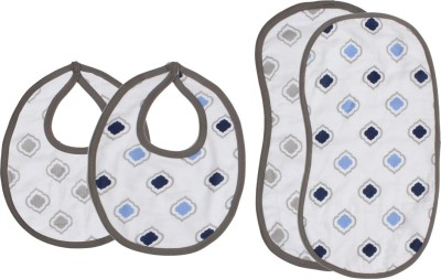 Bacati Moroccan Tiles Blue/Grey Muslin 4 pc set of Burpies/Bibs(Blue)