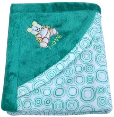 Gargshope Cartoon Crib Coral Blanket(Polyester, Green)