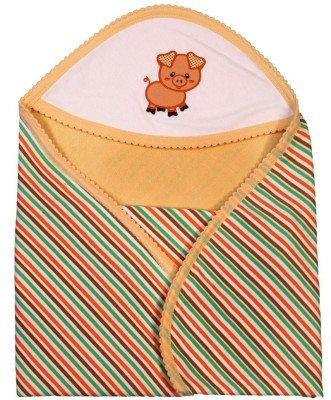 Brim Hugs & Cuddles Striped Crib Hooded Baby Blanket(Cotton, Beige)